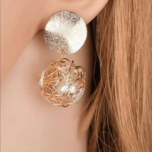 Jewelry - Gold Braided Ball Pearl Metal Earring